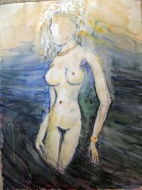 Frau, Wasser, Brust, Aquarell