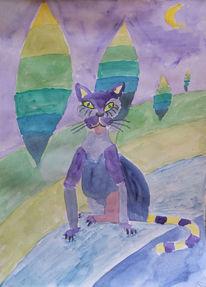 Katze, Kater, Katzentier, Aquarell