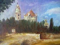 Kirche, Turm, Wald, Malerei