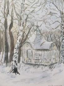 Birken, Pavillion, Park, Aquarell