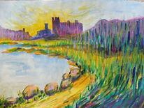 Burg, Schloss, Felsen, Ufer