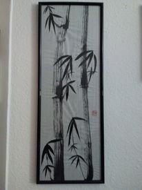 Bambus, Schwarz, Malerei, Tusche