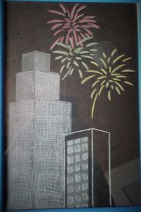 Hochhaus, Feuerwerk, Nacht, Zeichnung