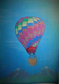 Himmel, Berge, Heißluftballon, Blau