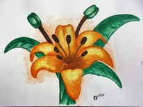 Grün, Lilie, Acrylmalerei, Blumen