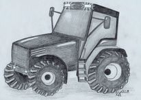 Landwirtschaft, Traktor, Bauernhof, Schwarz weiß
