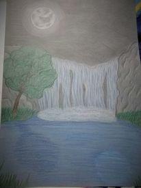 Baum, Nacht, Wasserfall, Wasser