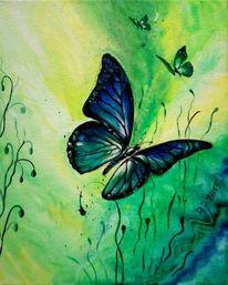 Abstrakt, Grün, Schmetterling, Malerei