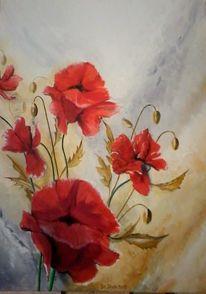 Braun, Grau, Blüte, Acrylmalerei