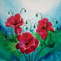 Blumen, Blüte, Malerei, Blätter