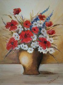 Acrylmalerei, Bege, Blumen, Blau