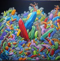 Geometrie, Mikrobe, Fantasie, Ölmalerei