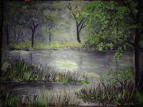 Ölmalerei, Landschaft, Dunkel, Malerei