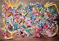 Farbgewalt, Ausdruck, Komplexität, Ölmalerei