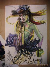 Malerei, Aquarell copics, Mädchen, Frau