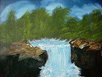Malerei, Fluss, Wald, Baum