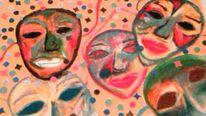 Maske, Pastellmalerei, Konfetti, Malerei