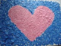 Herz, Konfetti, Malerei, Bleu