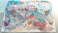 Konfetti, Weltgeschehen, Gouachemalerei, Collage
