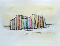 Buch, Lesen, Aquarellmalerei, Grafik