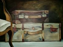 Koffer, Sessel, Ölmalerei, Braun