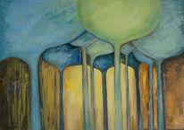 Gelb, Abstrakt, Beige, Ölmalerei