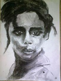 Blick, Portrait, Kohlezeichnung, Sehnsucht