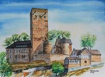 Aquarellmalerei, Hattingen, Burg blankenstein, Turm