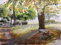 Aquarellmalerei, Licht und schatten, Baum, Landschaft