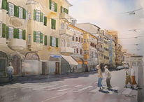 Aquarellmalerei, Menschen, Meran, Straße