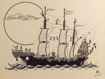 Pirat, Schiff, Schwarz, Malerei
