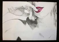 Pastellmalerei, Hand, Rot, Lippen