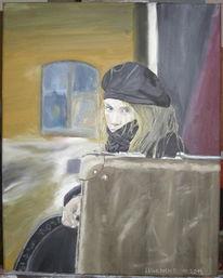 Mädchen, Schwarz, Koffer, Ölmalerei