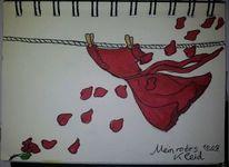 Kleid, Blumen, Wind, Zeichnungen