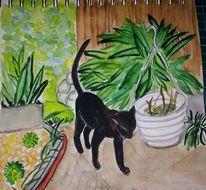Katze, Kater, Terrasse, Malerei