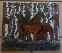 Pferde, Birken, Wald, Malerei