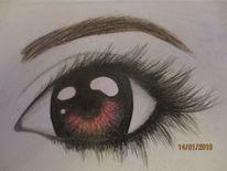Zeichnung, Augen, Frau, Bleistiftzeichnung