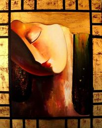 Rot, Ölmalerei, Gold, Malerei