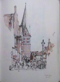 Urban sketch, Innenstadt, Reise, Tuschmalerei