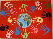 Acrylmalerei, Welt, Kinder, Rot
