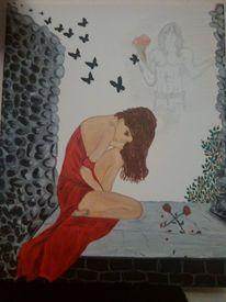 Burg, Acrylmalerei, Mädchen, Träum