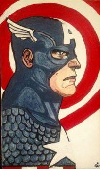 Superheld, Staunen, Amerika, Malerei