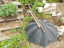 Arbeit, Bauernhof, Schirm, Regen