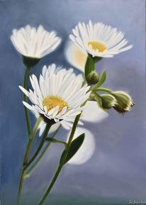Ölmalerei, Fotorealistische malerei, Gänseblümchen, Malerei