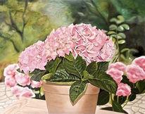 Ölmalerei, Hortensie im topf, Blumen, Malerei