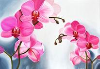 Ölmalerei, Fotorealismus, Orchidee, Blüte