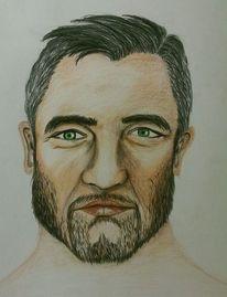 Portrait, Buntstiftzeichnung, Mann, Zeichnung