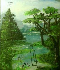 Wald, See, Ölmalerei, Malerei