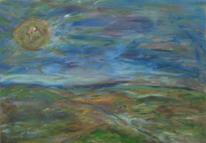 Landschaft, Acrylmalerei, Blau, Himmel