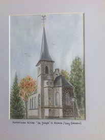 Natur, Kirche, Bauwerk, Aquarell